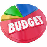 Budget Pie Chart Plan Money Spending Saving. Budget 3d word on a pie chart to illustrate planning your money spending or saving for financial control Royalty Free Stock Photo