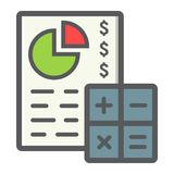 Budget planing filled outline icon, business. And finance, calculate sign vector graphics, a colorful line pattern on a white background, eps 10 Stock Photography