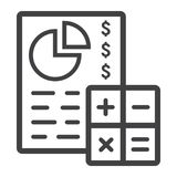 Budget planing line icon, business and finance. Calculate sign vector graphics, a linear pattern on a white background, eps 10 Royalty Free Stock Images