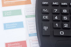 Budget Planner with Black Calculator Stock Photography