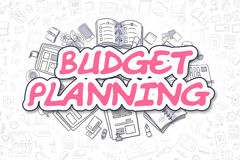 Budget Planning - Cartoon Magenta Text. Business Concept. Doodle Illustration of Budget Planning, Surrounded by Stationery. Business Concept for Web Banners Stock Photography