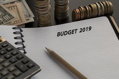 Budget planning concept. Notepad with Budget 2019 text stock photography