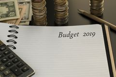 Budget planning concept. Notepad with Budget 2019 text royalty free stock photos
