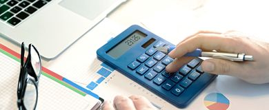 Budget planning concept. Savings calculations royalty free stock image