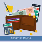 Budget planning concept. Vector concept budget planning for pay taxes. Purse with money coins calculator, paper, smartphone. Flat style. Web infographics Stock Photography