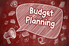 Budget Planning - Doodle Illustration on Red Chalkboard. Stock Photography