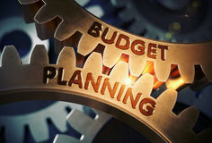 Budget Planning on Golden Cog Gears. 3D Illustration. Royalty Free Stock Photography