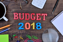 Budget 2018 on table. Budget 2018 on wooden table royalty free stock image
