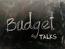 Budget Talks Handwritten on Blackboard - Stock image. As JPG File Stock Image
