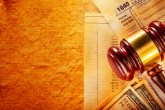 Budget, tax form, gavel and dollars Royalty Free Stock Image