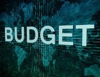 Budget. Text concept on green digital world map background Royalty Free Stock Photo
