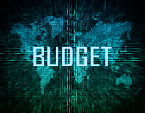 Budget. Text concept on green digital world map background Royalty Free Stock Images
