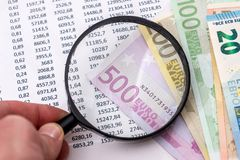 Budget text with magnifying , 100 euros, calculator stock images