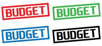 BUDGET text, on rectangle border stamp sign. Royalty Free Stock Photo