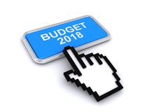 Budget 2018. Text 'budget 2018' in white uppercase letters on blue rectangular plate with silver border plus electronic hand on screen with finger pointing to vector illustration