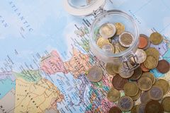 Budget travel save for your trip. Budget travel ,save for your trip concept Stock Images