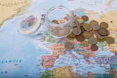 Budget travel with money. Budget travel ,save for your trip cocept Royalty Free Stock Images