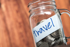 Budget Travel - saving holiday in glass bottles. Royalty Free Stock Photo
