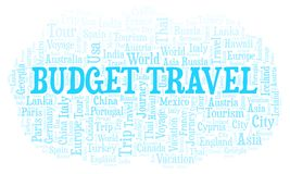 Budget Travel word cloud. Wordcloud made with text only royalty free stock image