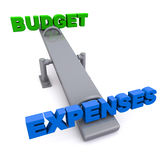 Budget versus expenses. Budget vs expenses on a balance swing, over white background, concept of over the budget expenses and exceeding the budget Stock Photography