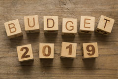 Budget for 2019. Wooden, blocks on a wooden background royalty free stock photo