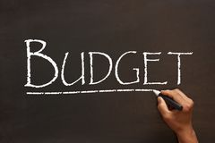 Budget Word On Blackboard. Budget handwriting with white chalk on a blackboard. Business concept stock photos