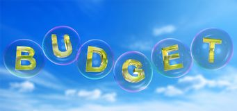 The budget word in bubble. The budget word in soap bubble on blue sky background,3d rendered Stock Photography