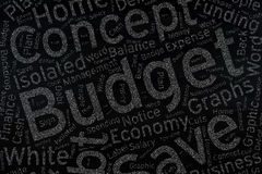 Budget ,Word cloud art on blackboard.  stock image