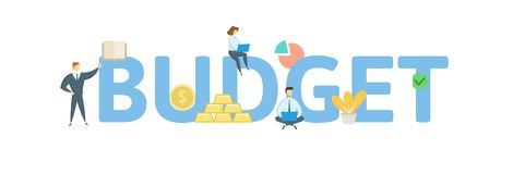 BUDGET word concept banner. Concept with people, letters, and icons. Flat vector illustration. Isolated on white royalty free illustration
