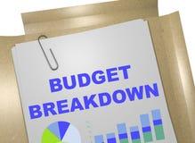 Budget-Zusammenbruch - Geschäftskonzept lizenzfreie abbildung