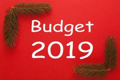 Budgetbegrepp 2019 arkivbilder