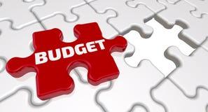 budgeter Inskriften på den saknade beståndsdelen av pusslet vektor illustrationer