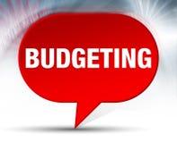 Budgetera röd bubblabakgrund stock illustrationer