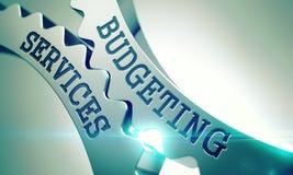 Budgetera service - mekanism av skinande metallkugghjul 3d vektor illustrationer