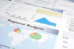budgeterar regional rapport Arkivbilder