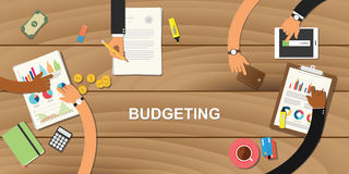 Budgeting business concept illustration with team work together to on top   Stock Images