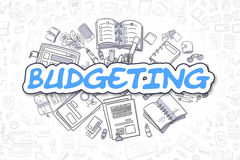 Budgeting - Cartoon Blue Word. Business Concept. Business Illustration of Budgeting. Doodle Blue Inscription Hand Drawn Cartoon Design Elements. Budgeting Royalty Free Stock Photo