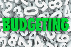 Budgeting 3d Word Numbers Background Financial Money Plan. Budgeting word in 3d green letters on a background of numbers to symbolize creating a budget plan for Stock Photos