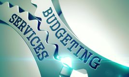 Budgeting Services - Mechanism of Shiny Metal Gears. 3D. Budgeting Services - Illustration with Lens Flare. Budgeting Services on Mechanism of Metal Cog Gears Royalty Free Stock Photography