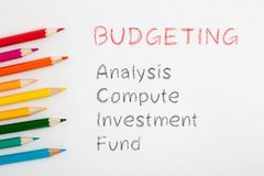 Budgeting text concept. Budgeting written on white background by colour pencils. Business concept stock photos