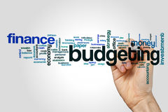 Budgeting word cloud concept on grey background.  Royalty Free Stock Photos