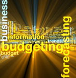 Budgeting wordcloud glowing Royalty Free Stock Photo
