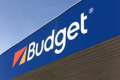 Budgetlogo auf einer Wand Lizenzfreies Stockbild