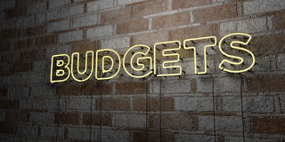 BUDGETS - Glowing Neon Sign on stonework wall - 3D rendered royalty free stock illustration Stock Images