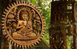 Budha en la madera tallada Fotografía de archivo libre de regalías