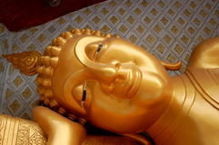 Budha head. Golden budha head in Bangkok Stock Photography