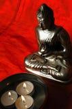 Budha light. Budha image on orange background Royalty Free Stock Photo