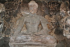 Budha monastery, Ellora Caves, India royalty free stock photo