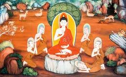 Budha mural wat phrabahtseeroy, chiangmai Thailand Royalty Free Stock Image