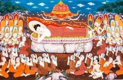 Budha mural wat phrabahtseeroy, chiangmai Thailand Stock Images